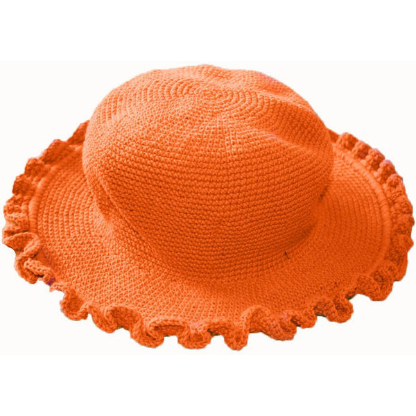 Ruffled Brim Hat - Hand Crocheted - Orange
