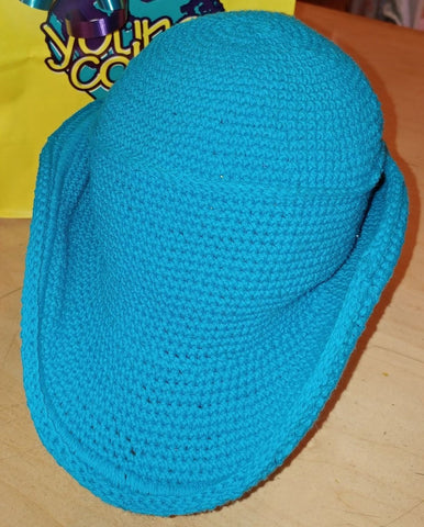 Cowboy Hat - Hand Crocheted - Turquoise