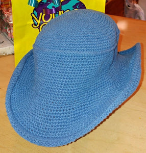 Cowboy Hat - Hand Crocheted - Vintage Blue