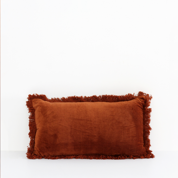 Boudoir Fringed Cushion - Burnt Orange