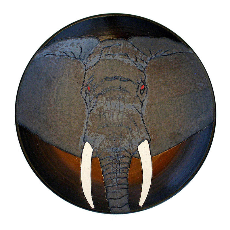 "Dennis Chinaworks Elephant African Plate 10"" - uk-art-pottery-test-site"