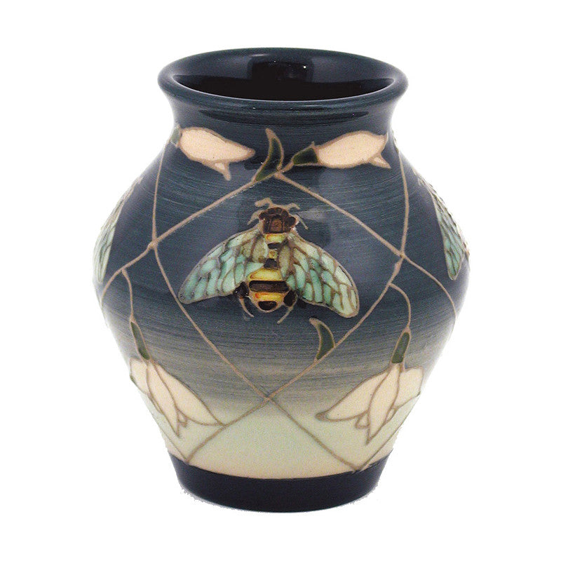 "Dennis Chinaworks Snowdrop and Bee on Green Vase 3.75"" - uk-art-pottery-test-site"