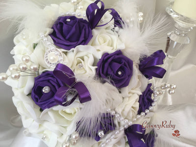 Cadbury Purple & Ivory Rose Vintage