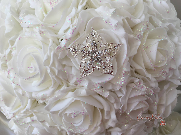 Iridescent Glitter Cottage Rose With Star Brooch
