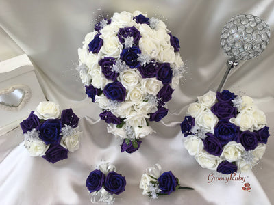 Cadbury Purple Glitter Rose With Silver Babies Breath