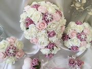Victorian Rose, Blush Pink & Ivory Roses With Pearl String & Pearl Star Brooch