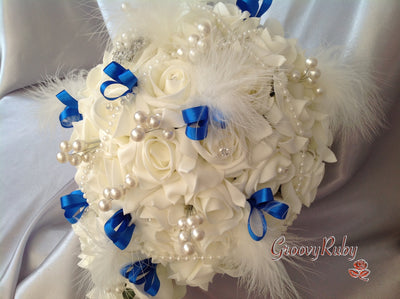 Ivory Rose Vintage With Royal Blue Ribbon Loops