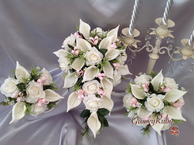 Ivory Rose & Large Calla Lily, Added Baby Pink Ribbon Loops