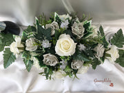 Long Table Arrangement With Grey & Ivory Roses & Babies Breath