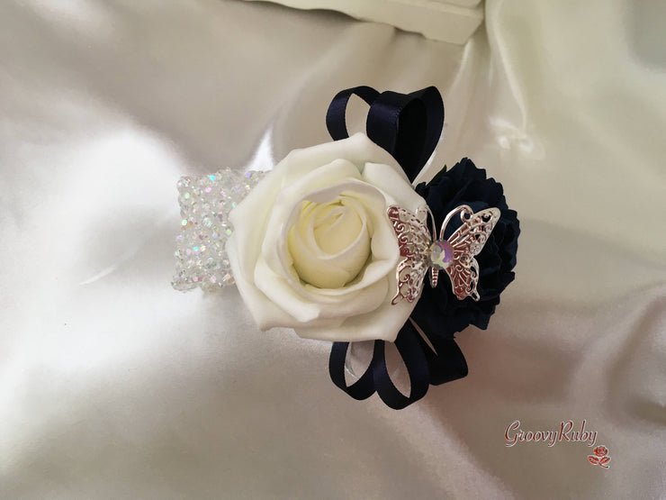 Large Diamante Iridescent Butterfly Brooch With Navy Carnations & Roses