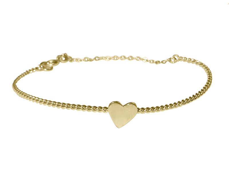 Twisted Heart Bracelet - Solid Yellow Gold