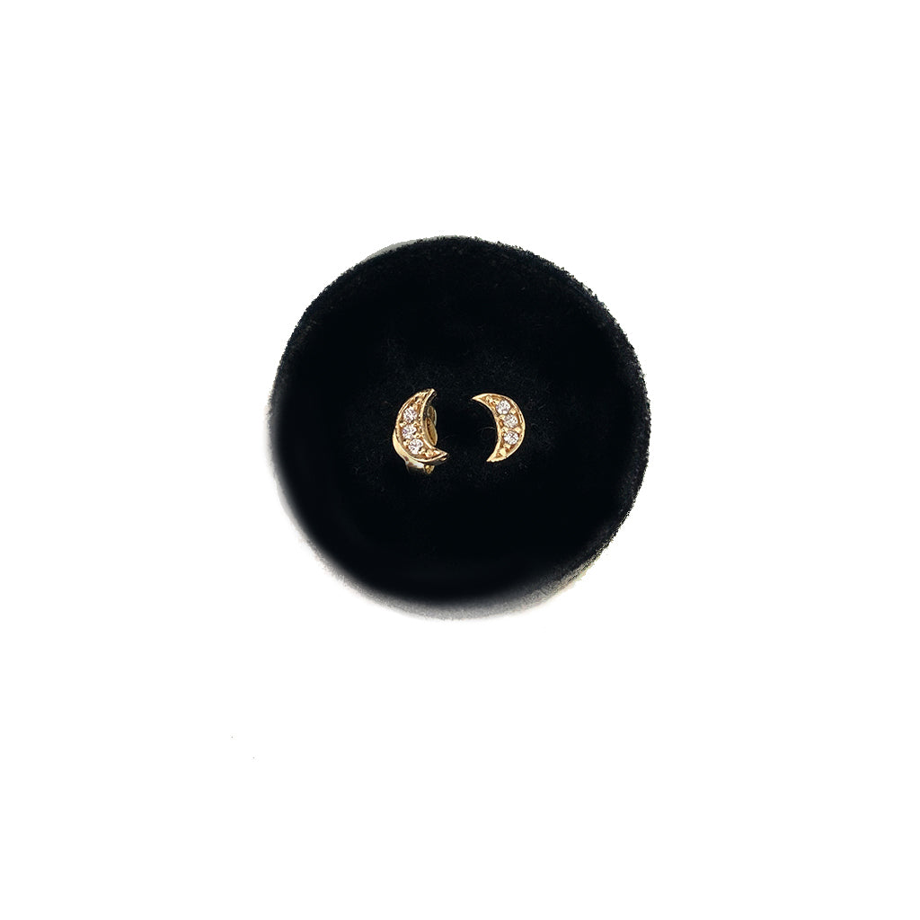 SOLID GOLD MOON STUDS- SMALL SIZE WITH CZ OR DIAMONDS - available in YELLOW OR WHITE GOLD