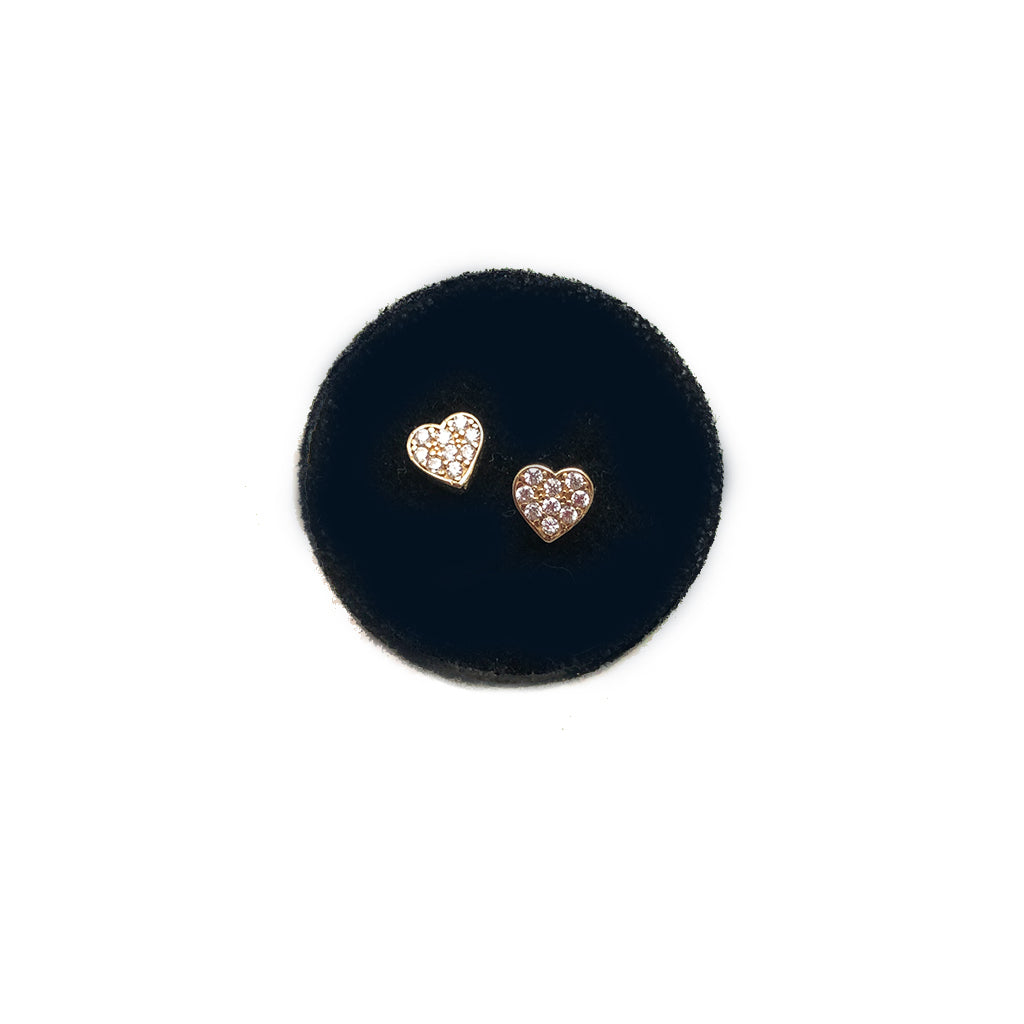 SOLID GOLD HEART STUDS- MEDIUM SIZE WITH CZ OR DIAMONDS - AVAILABLE IN YELLOW OR WHITE GOLD