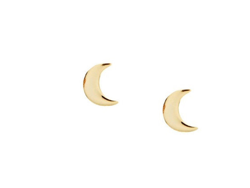 Simple Moon Earrings - solid yellow gold