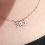 larger size mini diamond initials on a line- please email us with your choice if initials