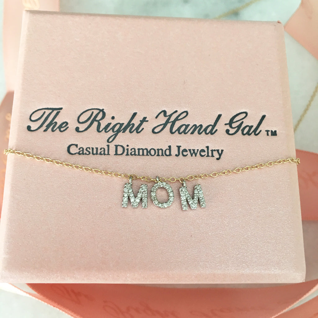 solid gold & diamond MOM neckace
