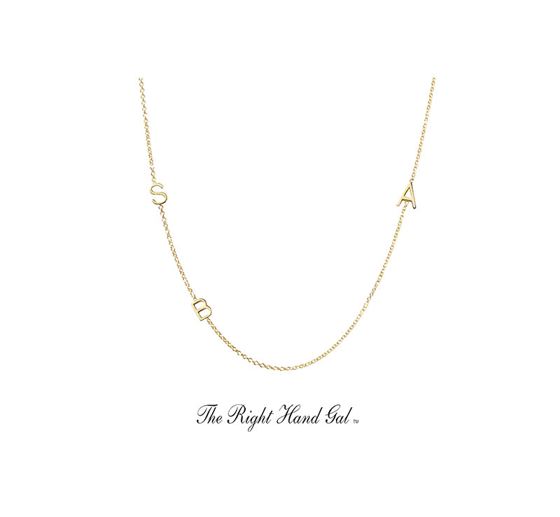 For guests of Meghan's Mirror!  The Meghan Necklace- Mini initial necklace - - if you need more initials than you see here, please email us as we can do it all AND PLEASE EMAIL US WITH YOUR CHOICE OF INITIALS XOXOXO !
