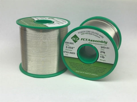 SN100C Lead Free Wire Solder, FCT WS101, Water Soluble