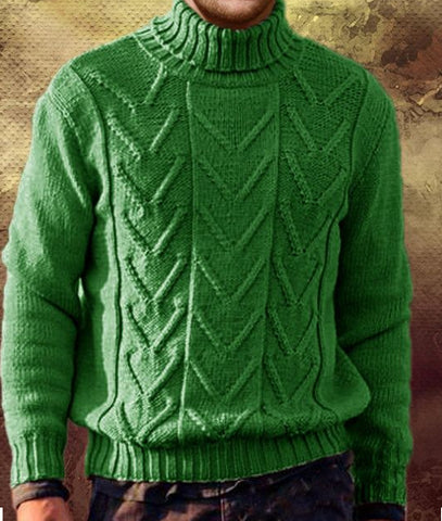 Men's Hand Knitted Turtleneck Wool Sweater 214B
