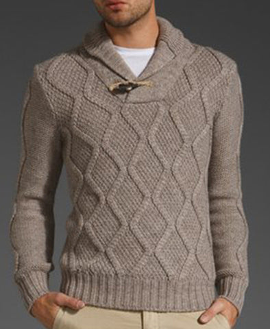 Men's Hand Knitted Shawl Collar Sweater 33B