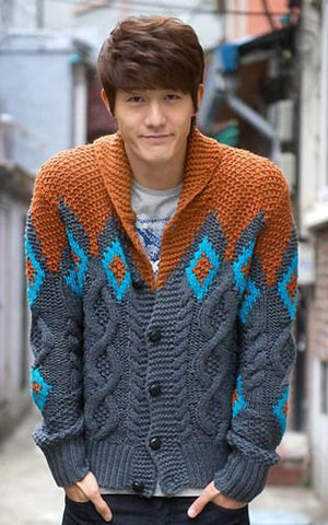 Mens hand knit wool cardigan 57A