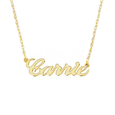 9k Solid Gold Name Plate Necklace