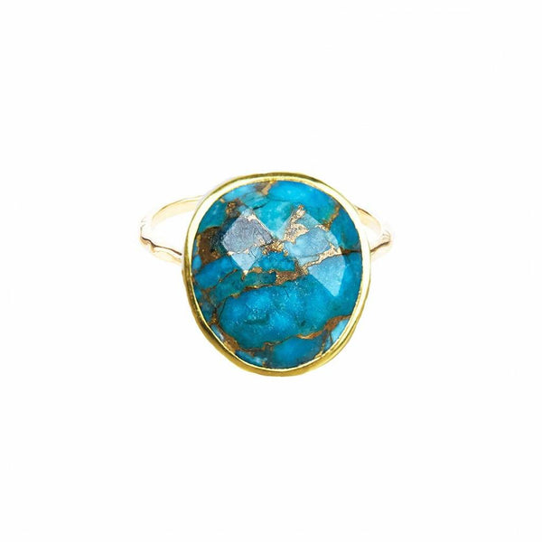 14k Gold Vermeil Statement Copper Turquoise Ring - Carrie Elizabeth