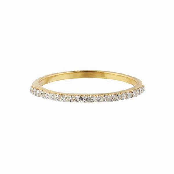 14k Solid Gold Diamond Pave Eternity Band - Carrie Elizabeth