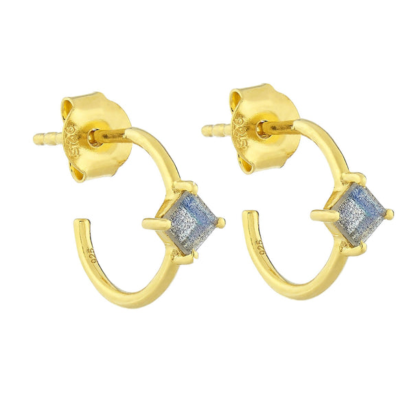 Isabella Collection 14k Gold Vermeil Diamond Shape Claw Set Hoops in Labradorite - Carrie Elizabeth
