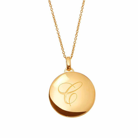 14k Gold Vermeil Engraved Initial Locket with Diamond Detail