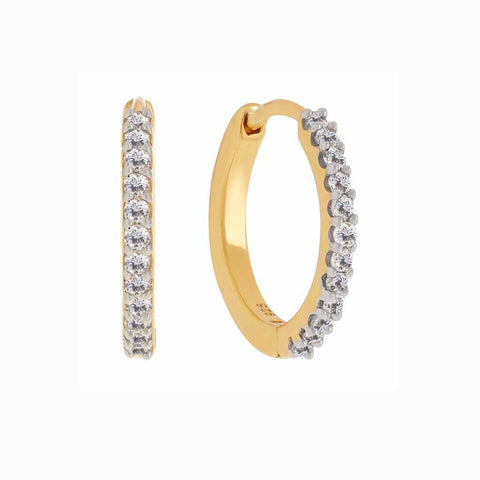14k Gold Vermeil Mini Hugging Hoops in Diamond