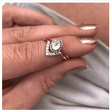 14k Gold Vermeil Pear Shape Moonstone & Diamond Ring - Carrie Elizabeth