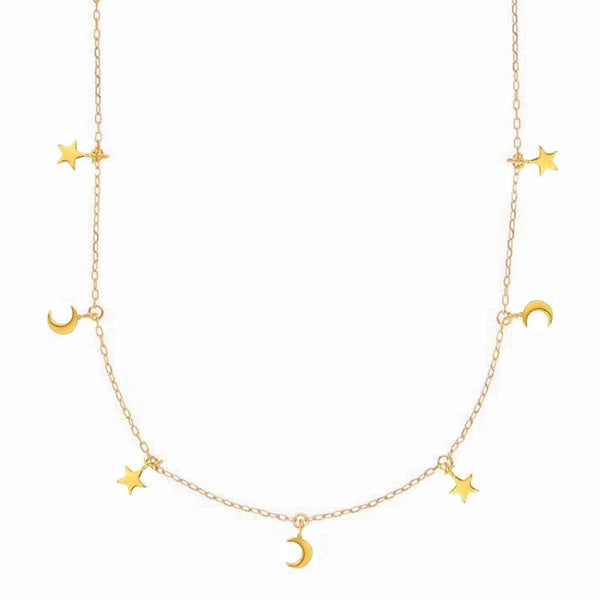 14k Gold Vermeil Mini Hanging Charm Necklace in Moon & Stars - Carrie Elizabeth