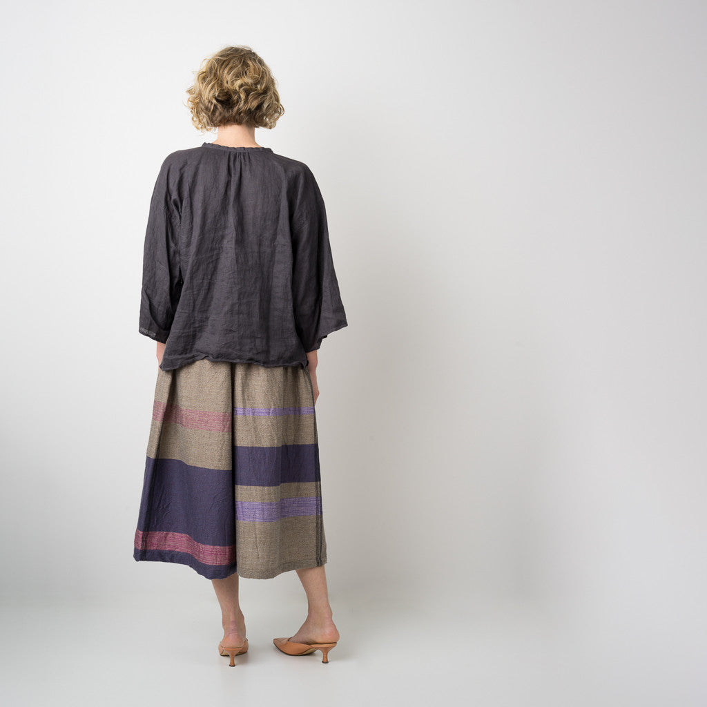 """Only One"" Wide pants short in wool & cotton - violet & pink"