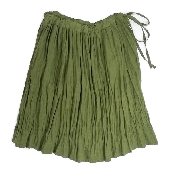Gathered skirt in clover green with side ribbon ties & elasticized waistband, front