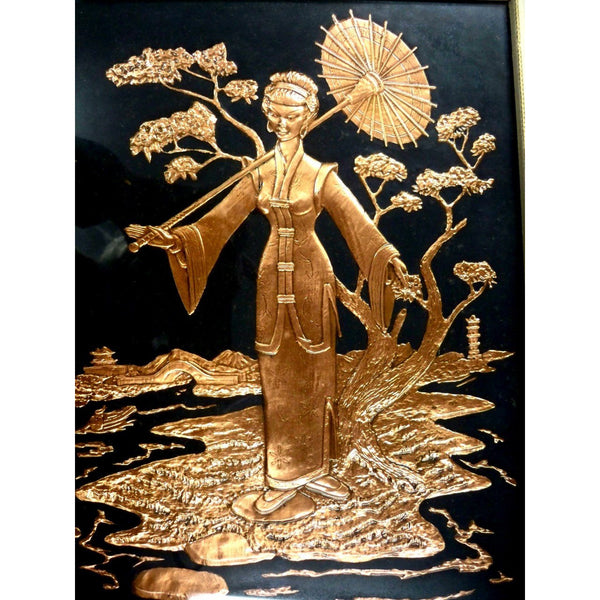 Vintage Mid Century Moderne Pressed Copper Chinese Relief Art  Late 1940s - The Best Vintage Clothing  - 4
