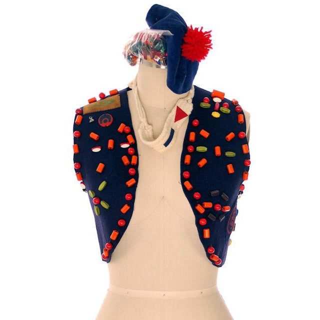 Vintage Campfire Girls Vest w/ Loads of Beads, Extra Beads & Cap 1960s - The Best Vintage Clothing  - 1