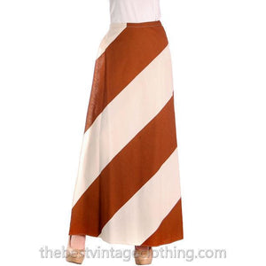 Vintage Vuokko 1970s Awning Stripe Maxi Wrap  Skirt Brown Ivory M - The Best Vintage Clothing  - 1