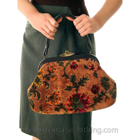 Vintage Tapestry Chenille  Handbag Purse  Carpet Bag  Classic Autumn Colors Lassy - The Best Vintage Clothing  - 1
