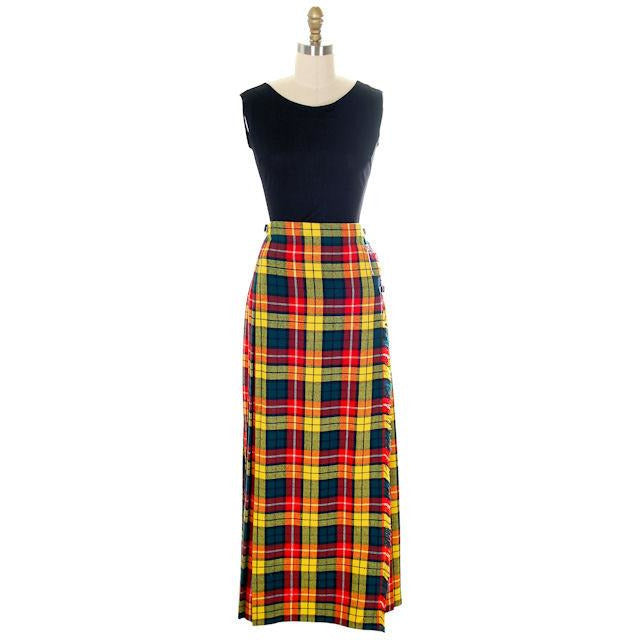 Vintage Ladies Scottish Maxi Skirt Made In Scotland Laird-Portch Small - The Best Vintage Clothing  - 1