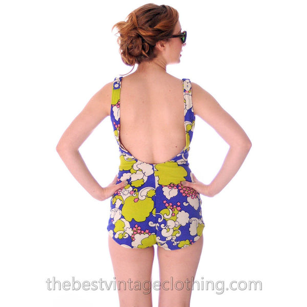 Vintage Swim Suit 1960s Bathing Suit 1 PC Psychadelic Print S Floral California - The Best Vintage Clothing  - 3