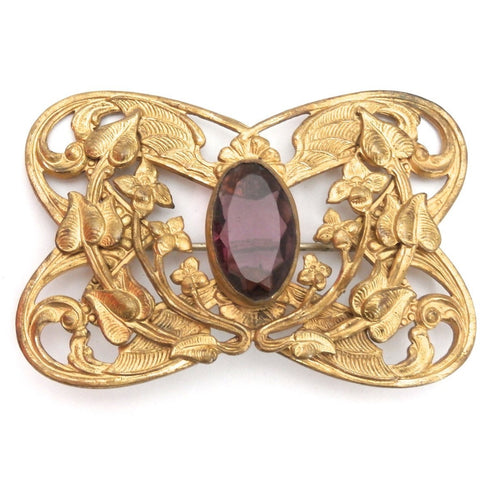 Gorgeous Antique Art Nouveau Gilted Brooch Large Amethyst Stone Center - The Best Vintage Clothing  - 1