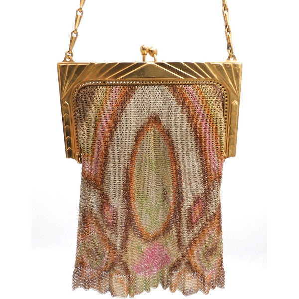 1920S Whiting & Davis Art Deco Pink/Orange Gold  Mesh Purse Vintage - The Best Vintage Clothing  - 2