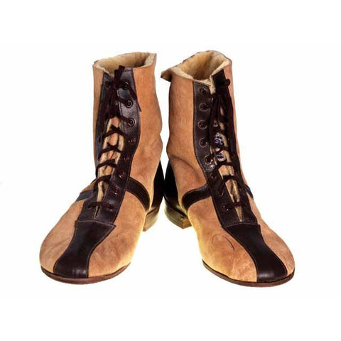 Mens Vintage Sherpa Suede 2-Tone Boots 1940S Mens Size 8.5 NIB Wannigan - The Best Vintage Clothing  - 1