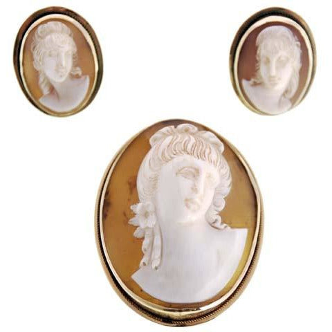 Rare Vintage Victorian Tortoise Shell Cameo Brooch & Earrings  14K - The Best Vintage Clothing  - 1