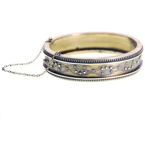 Antique Gold Bracelet Hinged Pretty Details Patented 1878 - The Best Vintage Clothing  - 1