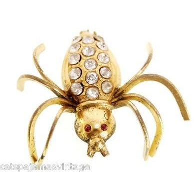 Vintage  Beetle Insect Bug Brooch w/ Rhinestones 1940s Large - The Best Vintage Clothing  - 1