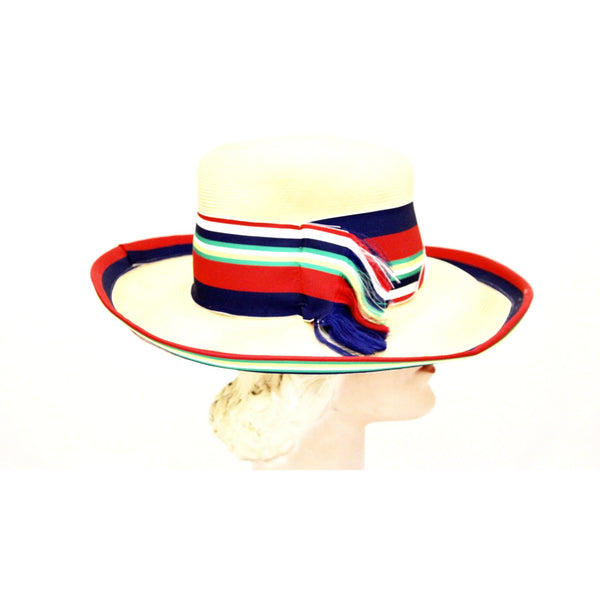 Vintage Gwen Pennington Exclusive Wide Brim Straw Hat Awning Stripe Ribbon Church 1960s