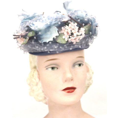 Vintage Womens hat 1940s Frank Palma Jr. Pillbox Blue Garden Party  Flowers O/S