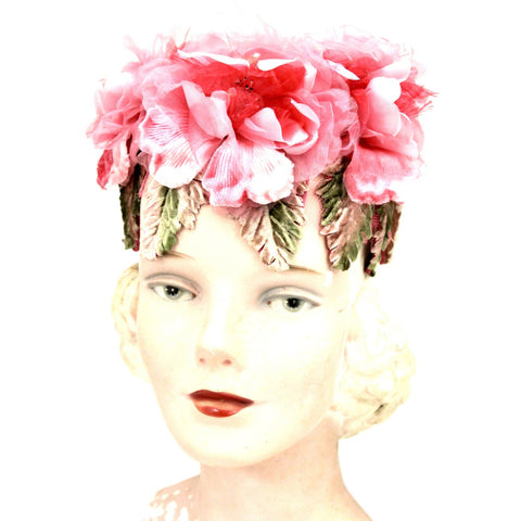 Vintage 1950s Garden Party Pillbox  Hat Valerie Modes Pink Flowers One Size Tea Party